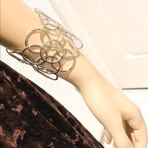 Silver toned circles cuff bracelet
